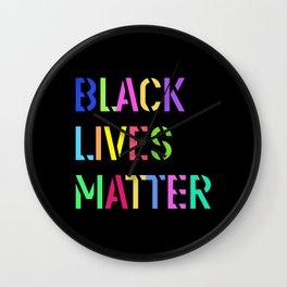 Black Lives Matter Colorful Stencil 1 Wall Clock