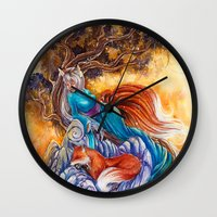 kitsune Wall Clocks featuring Kitsune by Nemeth Alina