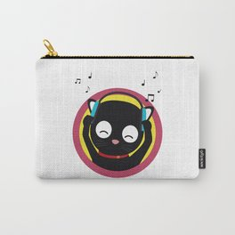 Cat with headphones hears music Carry-All Pouch