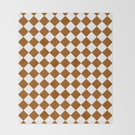 Diamonds - White and Brown Throw Blanket