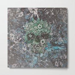 Floral Skull Flat Metal Print