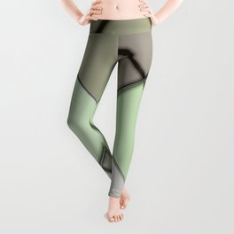 Mosaic tiled glass with black rays Leggings