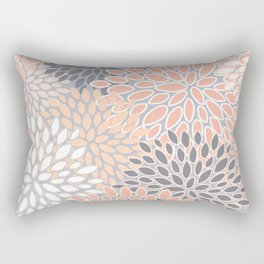 Flowers Abstract Print, Coral, Peach, Gray Rectangular Pillow