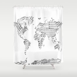 Atlas shower curtains society6 world map music vintage white shower curtain gumiabroncs Gallery