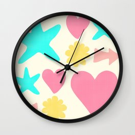 Pastel Shapes Pattern on Pale Yellow Wall Clock