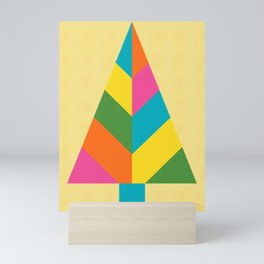Retro Christmas Tree in Yellow Mini Art Print