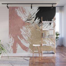 Giant Artsy Brushstrokes in Gold Rose Gold Glitter Wall Mural