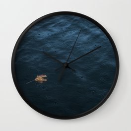 Leaf and Raindrops Wall Clock