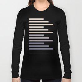 Grey Taupe Geometric Minimalist Staggered Stripes Simple Mid Century Zen Art Long Sleeve T-shirt