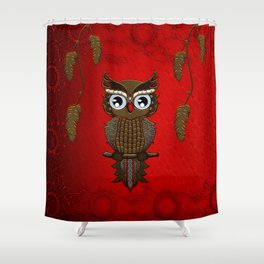 Wonderful steampunk owl on red background Shower Curtain