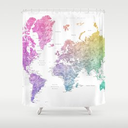 "Rainbow watercolor world map with cities ""Leo"" Shower Curtain"