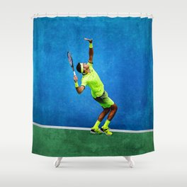 Del Potro Tennis Serve Shower Curtain