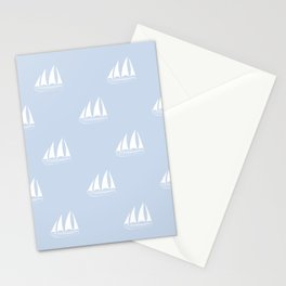 White Sailboat Pattern on pale blue background Stationery Cards