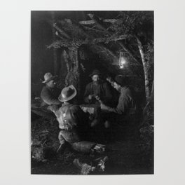 Vintage Adirondacks: Playing Cards by the Campfire Poster