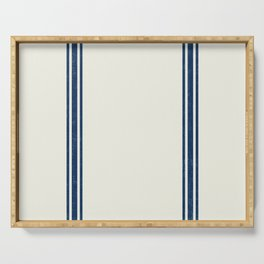 Blue Stripes on Creme background French Grainsack Distressed Country Farmhouse Serving Tray