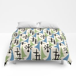 Mid Century Modern Atomic Wing Composition Blue & Sage Comforters