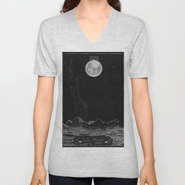 The Moon Tarot Card Unisex V-Neck