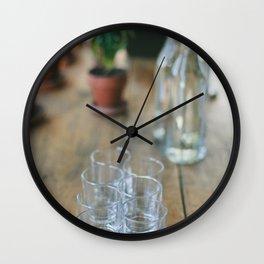 Wood Grain & Glasses  Wall Clock