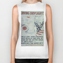 Vintage poster - Saving Daylight! Biker Tank