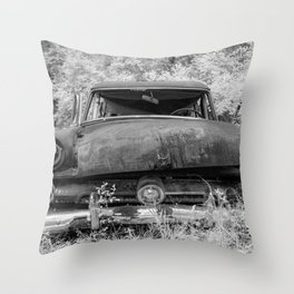 Rusting Station Wagon Infrared Black and White Abandoned Throw Pillow