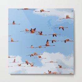 Flamingos in Flight Metal Print