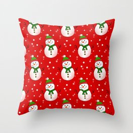Snowman Pattern Red - Merry Christmas Throw Pillow