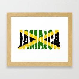 Jamaica Font with Jamaican Flag Framed Art Print