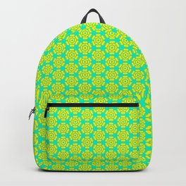 Yellow Bloom on Turquoise Mint Green Girly Feminine Country Kitchen Design Pattern Backpack