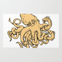 Giant Octopus Fighting Hydra Drawing Rug