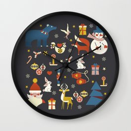 Christmas symbols pattern Wall Clock