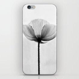 XRAY FLOWER [transparent black white poppy petals] iPhone Skin