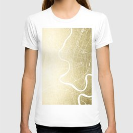 Bangkok Thailand Minimal Street Map - Gold Metallic and White T-shirt
