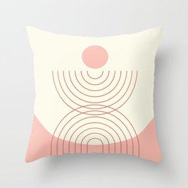Geometric Lines in Pastel Pink Peach (Rainbow and Sun Abstraction) Throw Pillow