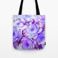 shabby chic Tote Bags featuring Shabby Chic Purple by Jacqueline Maldonado