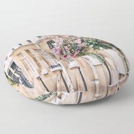 Parisian Flower Filled Street Floor Pillow