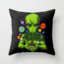 Space Alien Tree Of Life Extraterrestrial Throw Pillow