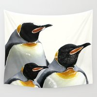 penguins Wall Tapestries featuring Penguins by Regan's World