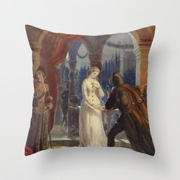 Vintage Romeo and Juliet Painting (1861) Throw Pillow