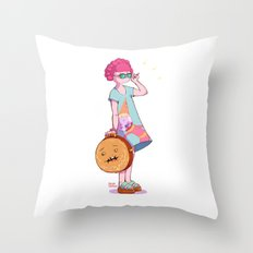 The Princess and the Suitcase Throw Pillow