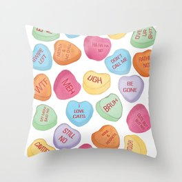 Anti love conversation hearts Throw Pillow