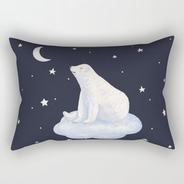 white bear on the cloud Rectangular Pillow