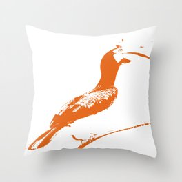 Oriental Pied Hornbill [Umber] Throw Pillow