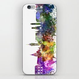 Calais skyline in watercolor background iPhone Skin