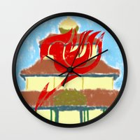 fairy tail Wall Clocks featuring Fairy Tail Segmented by JoshBeck