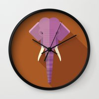 asian Wall Clocks featuring Asian Elephant by Fabio Rex