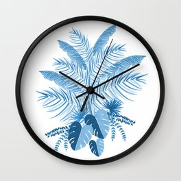Blue Topical Leaves Pattern Wall Clock