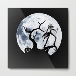 skellington in the moon Metal Print