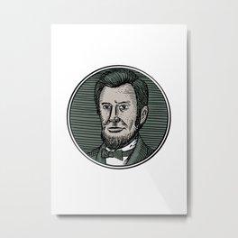 Victorian Gentleman Goatee Etching Metal Print