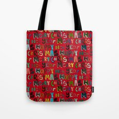 red merry christmas and happy new year Tote Bag