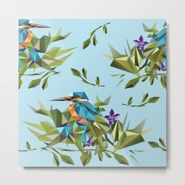 Common Kingfisher (halcyon) in Triangles Metal Print